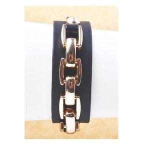 Leather & Metal Chain Bracelet